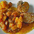 Filet mignon de porc mariné, caramélisé - dés de butternut poêlés