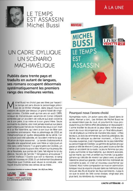 LE TEMPS EST ASSASSIN - MICHEL BUSSI - L'ACTU LITTERAIRE - GRAND LIVRE DU MOIS - JUIN 2016