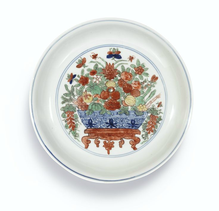 A wucai 'Flowers and Fruit' dish, mark and period of Wanli. Photo: Sotheby's.