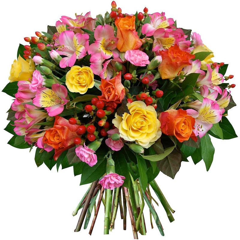 N° 2bouquet-rond-rose-fleur-oeillet-hypericum-alstroemeria-multicolore-vif_13785