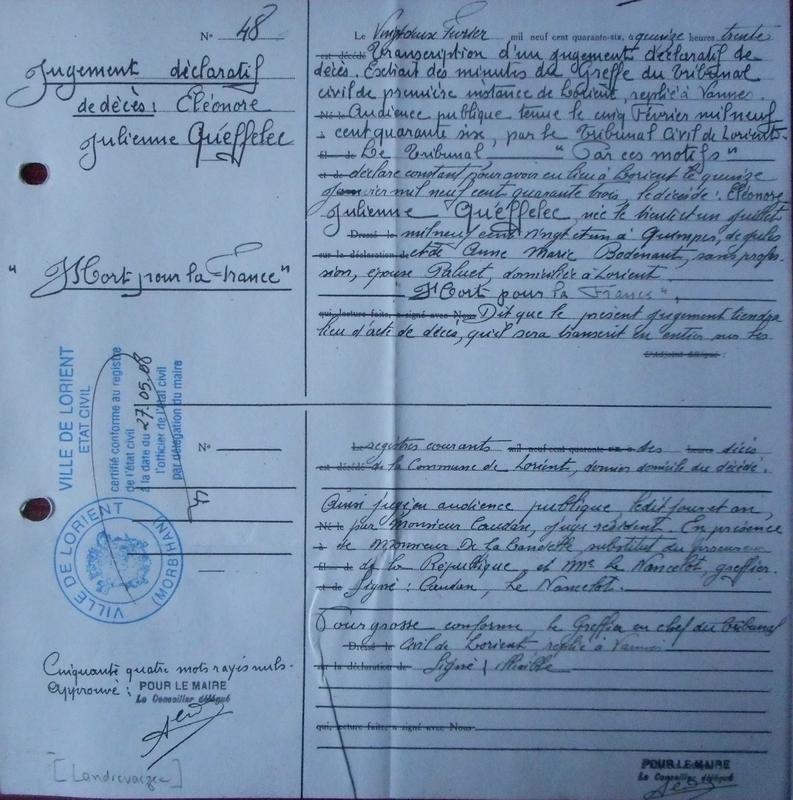 19430115 Acte de décès de Eléonore Julienne Q Famille Landrevarzec