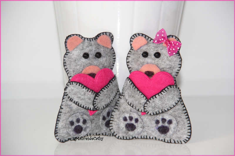 oursons feutrine couple valentin