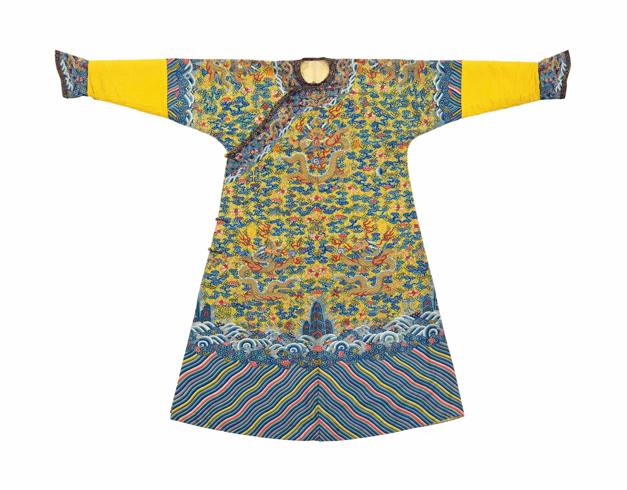 A Magnificent Imperial Yellow Kesi Twelve Symbol Dragon Robe Made