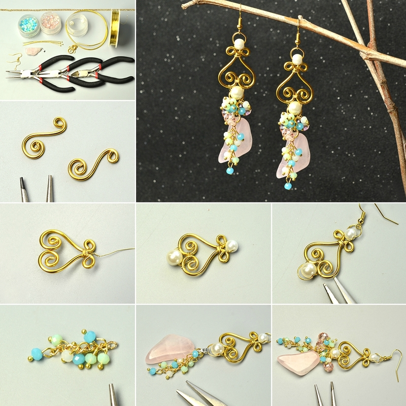 1080-PandaHall-Original-Designs-–-Simple-Wire-Wrapped-Dangle-Earrings-with-Gemstone-Pendants