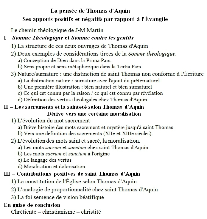 Saint Thomas d'Aquin, plan du message