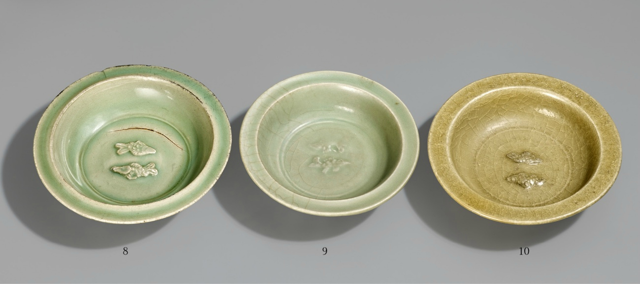 Three Longquan celadon twin fish dishes, 12th-13th century & 13th-14th century