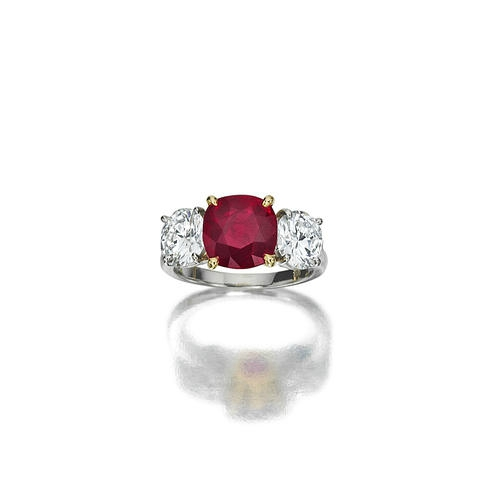 A ruby and diamond ring 181