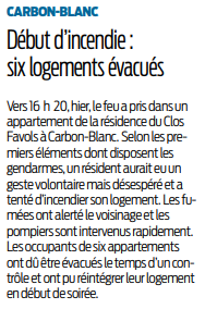 2019 01 14 SO Carbon blanc six appartements évacués suite à un incendie