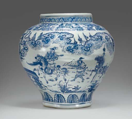 A_large_blue_and_white_jar__guan__Ming_dynasty__mid_15th_century_