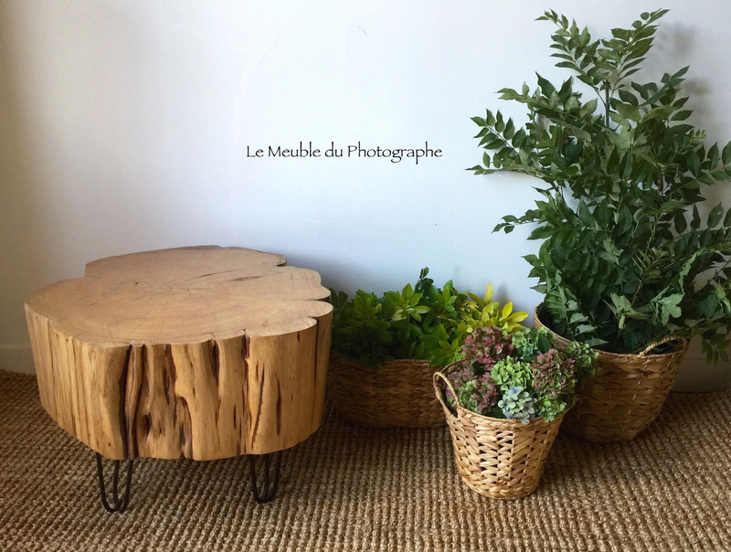 table basse rondin nature