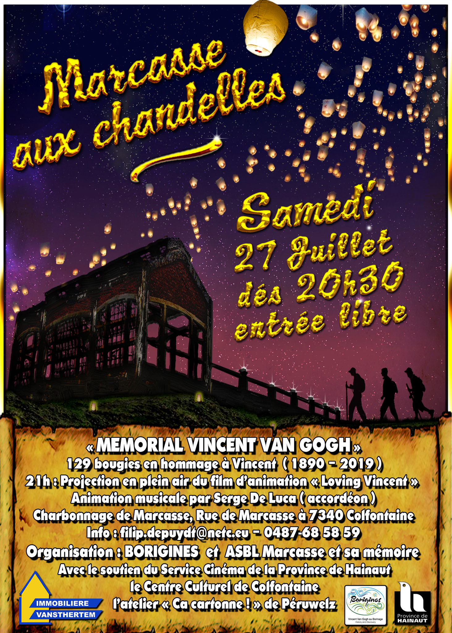 "Van Gogh weekend in the Borinage - 27-28/07/2019 : Marcasse aux Chandelles - ""Marcasse by Candlight"" + ""Van Gogh guided walk"""