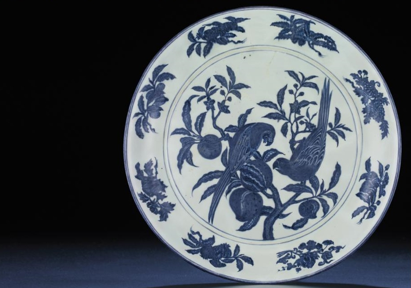 An important and extremely rare early Ming massive blue and white, Xuande six-character mark and of the period (1426-1435)