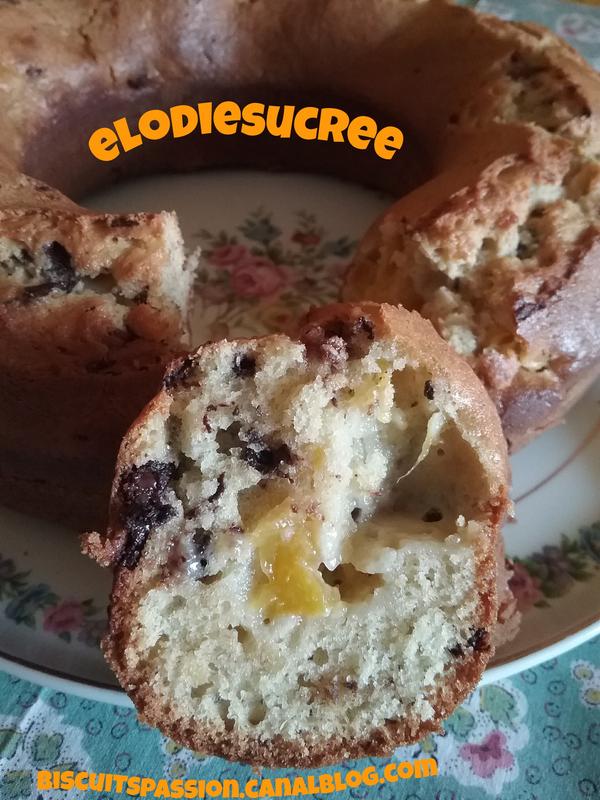 Gâteau au yaourt grec, aux brugnons, pépites de chocolat et huil 028