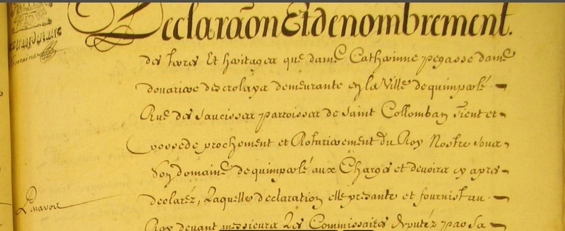 Terrier de Quimperle Pegasse des Crolays année 1678_1