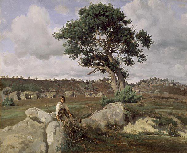 Le rageur, JB Corot, vieux chêne sur fond de désert d'Apremont