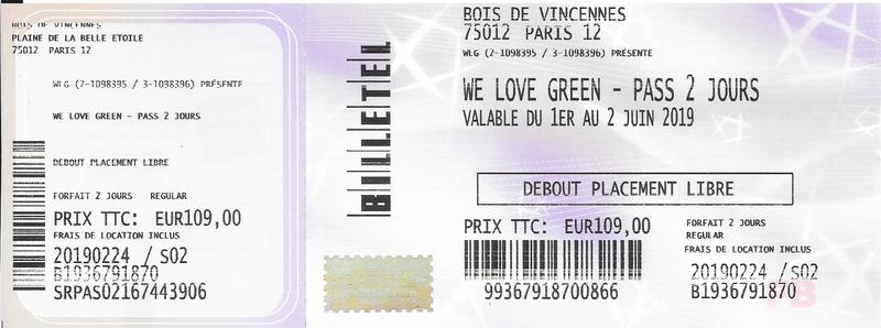 2019 06 02 We Love Green J2 Bois de Vincenne Billet