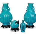 Three Chinese turquoise-glazed vases and a peach shaped 'bat' teapot, Kangxi period (1662-1722)