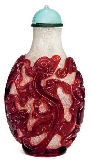 A red glass overlay snuff bottle, 19th century