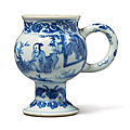 A blue and white 'figural' mustard pot, ming dynasty, chongzhen period (1628-1644)