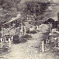Winling, Bazeilles en feu, incendié par les Bavarois 1870