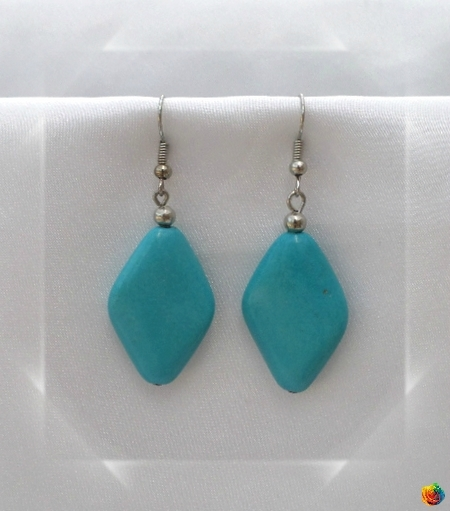 Boucles d'Oreilles Himal Perle Losange Turquoise Argent du Tibet