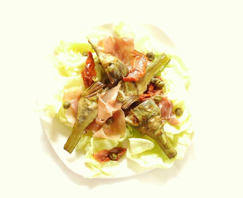 salade d'artichaut violet au jambon cru et aux câpres 2