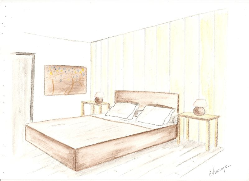 Croquis chambre, ambiance CHARME - DeCOR\'in Idées & Conseils