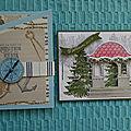 Double atelier carte triptyque terre à l'horizon et carte pavillon enneigé
