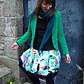 Jupe boule à pois et motifs graphique vert/blanc/noir..