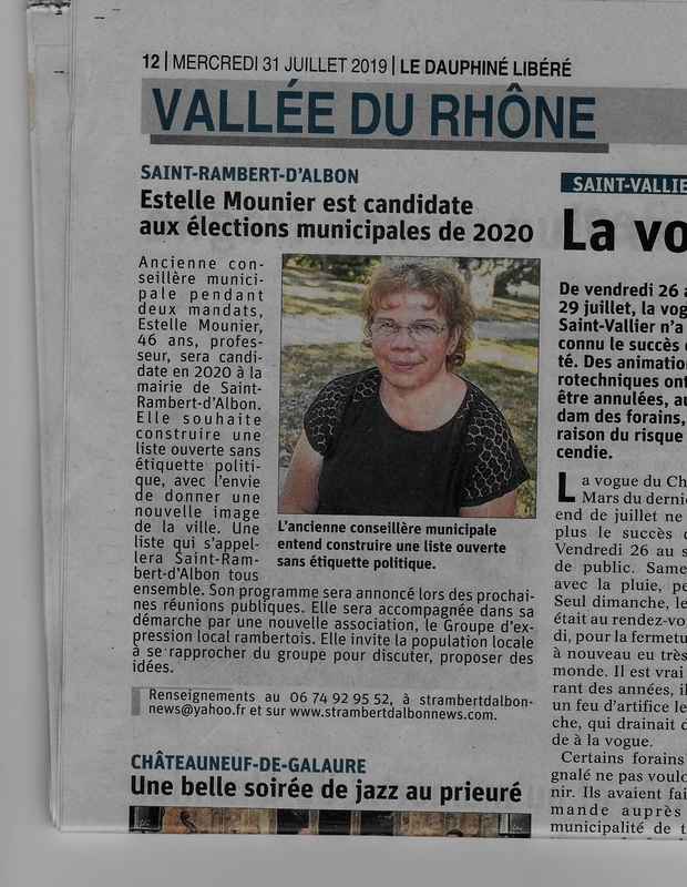 Article journal du 31 juillet 2019 liste electorale