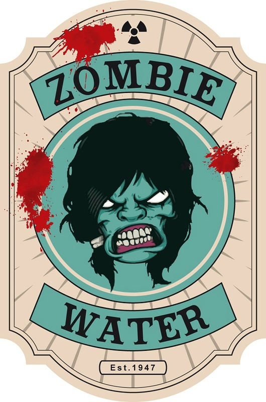 label halloween zombie water virus