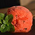 Sorbet fraise citron et menthe