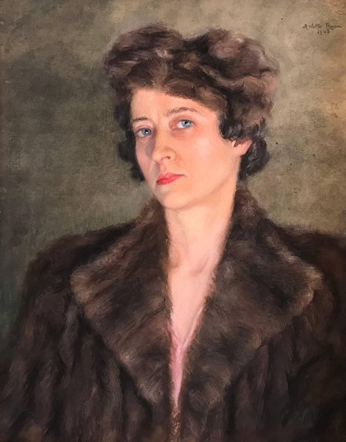 fur coat Portrait of Fashionable Lady in Fur Jacket, vintage French painting c