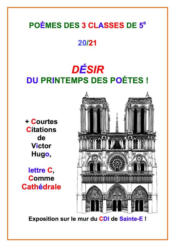 Poèmes 3 classes de 5e Printemps des Poètes Le Désir et Citations Hugo Jury de poètes Mars 2021