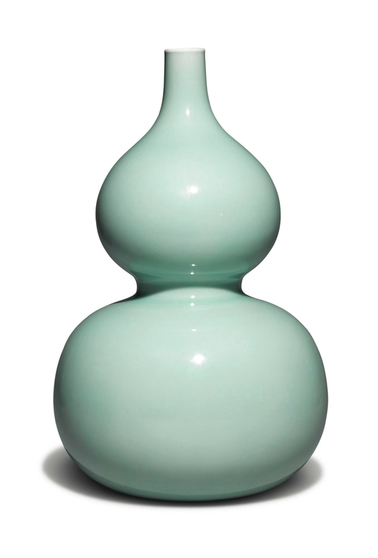 A fine and rare celadon-glazed double-gourd vase, Yongzheng seal mark and period