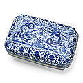 A rare blue and white 'dragon' rectangular box and cover, wanli six-character mark and of the period (1573-1619)