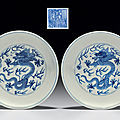 A pair of blue and white 'dragon' dishes, qianlong seal marks in underglaze blue and of the period (1736-1795)