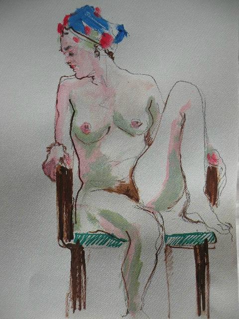 Dessin peinture de nus atelier tableau aquarelle acrylique couleur (4)