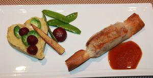 agneau en brick stoemp chou et petits légumes croquants