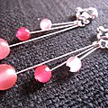 B.o. clips, pendantes perles roses