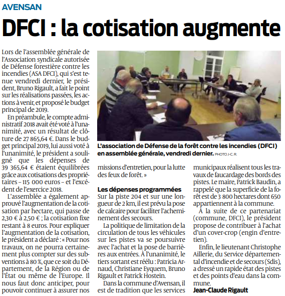 2019 12 14 SO Avensan DFCI la cotisation augmente