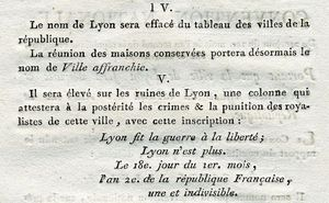 Decret Lyon Ville-Affranchie