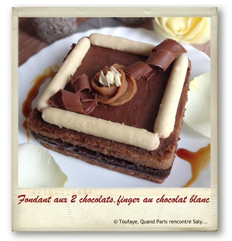 Fondant aux 2 chocolats,finger au chocolat blanc