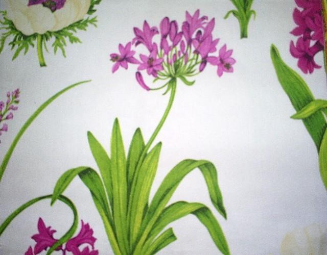 2 toile blanche à grosses fleurs
