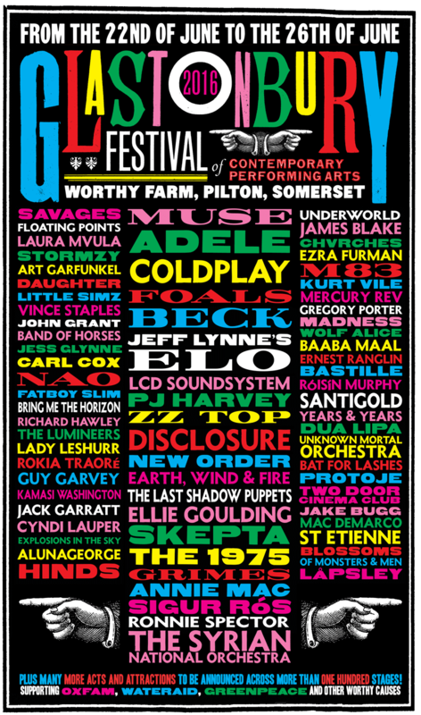 Glastonbury festival 2016 line-up poster affiche