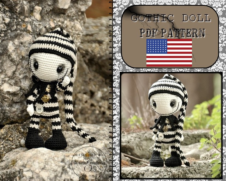 gothic doll Jack Skellington crochet pattern