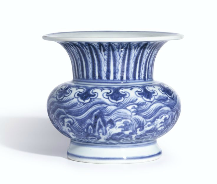 A fine and extremely rare blue and white 'Waves' leys jar, zhadou, Mark and period of Xuande. Photo: Sotheby's.