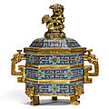 A cloisonné enamel tripod incense burner and cover, qing dynasty, qianlong period (1736-1795)