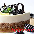Cheesecake au fromage blanc et mûres.