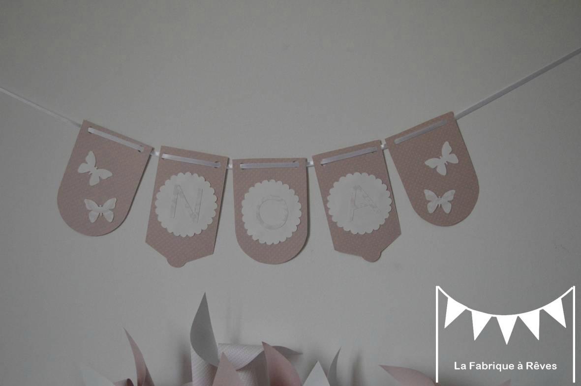bannière prénom rose poudré et blanc papillons